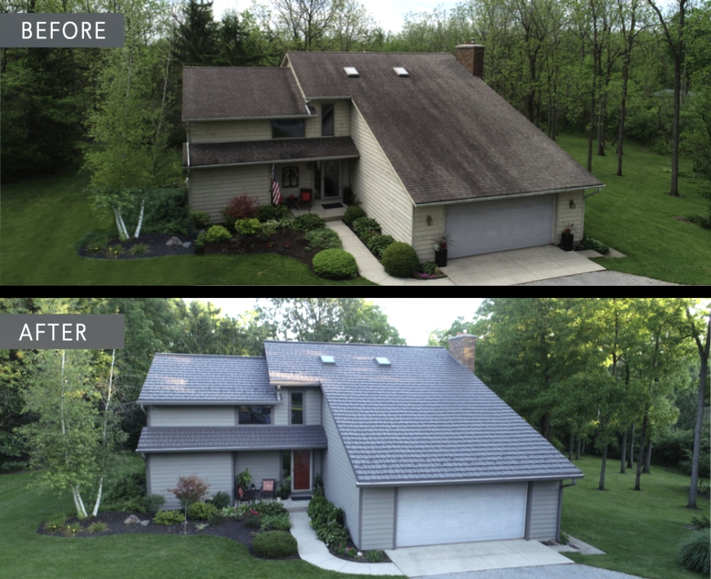 Before and after roof Bellefontaine Ohio