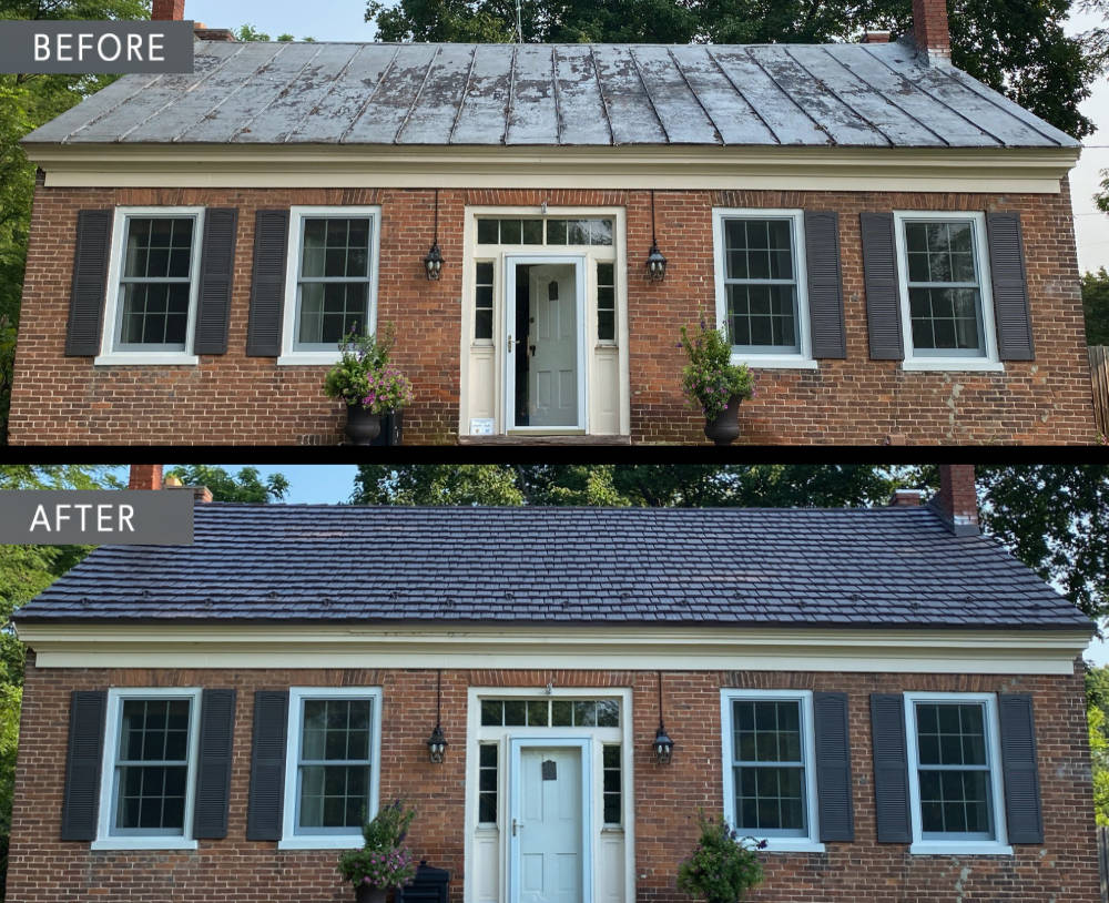 Before and after roof Donnelsville Ohio