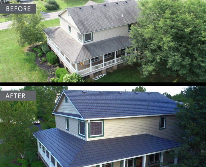 Before and after roof in London Ohio