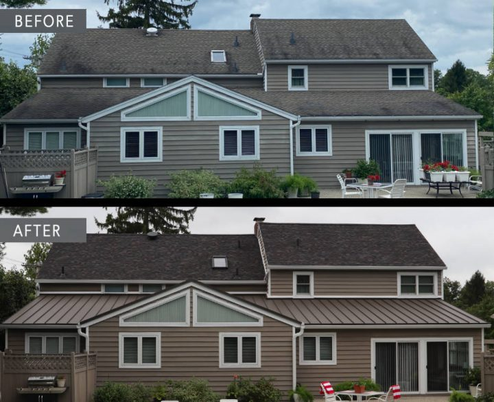Before and after metal roof Belefontaine Ohio
