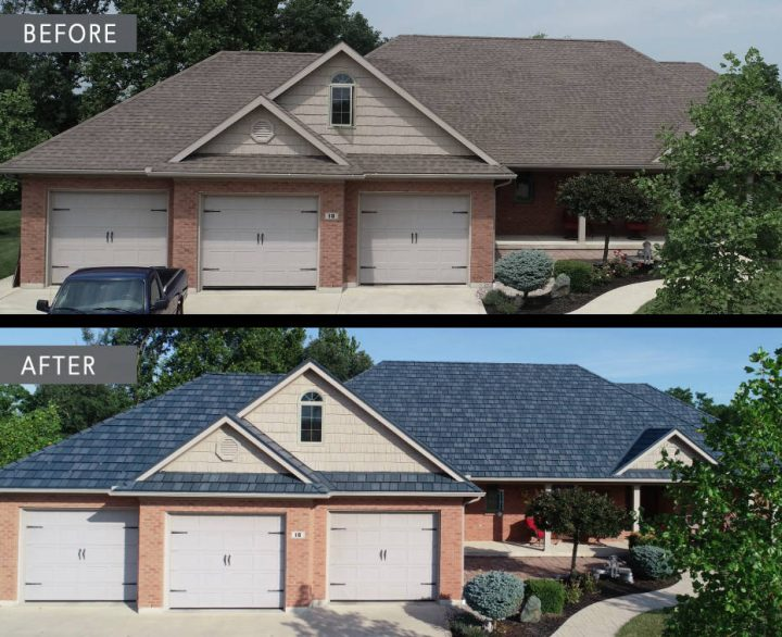 Before and after metal roof Minster Ohio