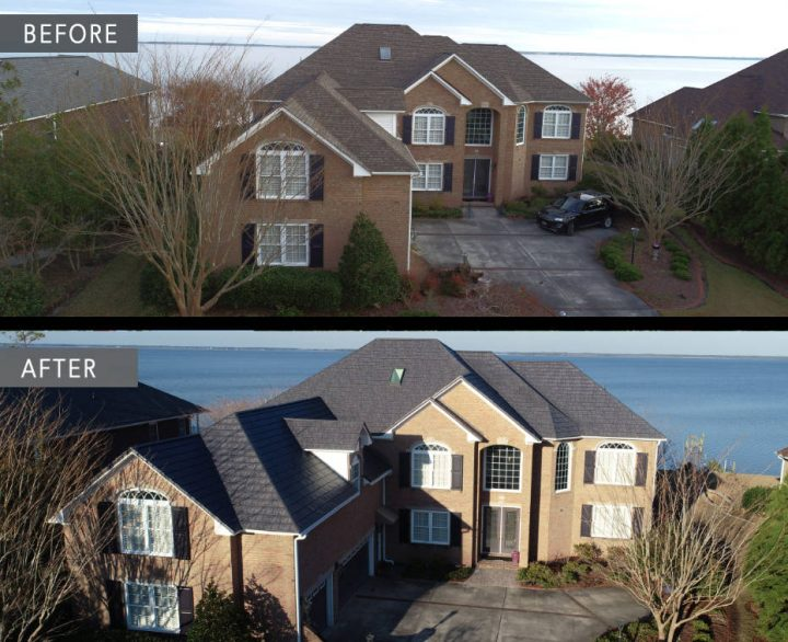 Before and after roof in North Carolina