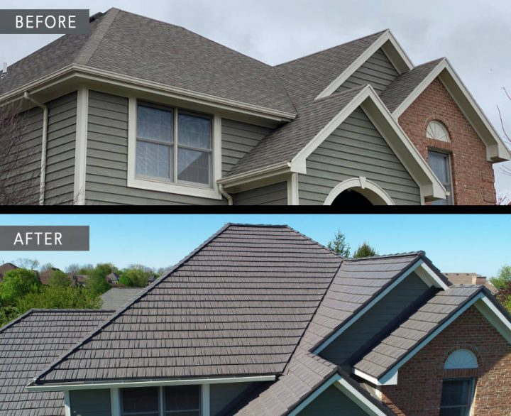 Before and after roof in Tipp City Ohio